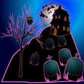 Halloween nacht in het veld — Stockvector