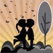 Stock Vector: Silhouettes of girl and boy kissing, background sunset