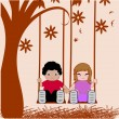 Stock Vector: Boy and girl holding hands under big tree swinging.
