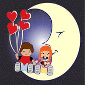 Smiling bride and groom sitting on the moon — Stock Vector