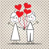 Smiling couple with red balloons. — Stock Vector