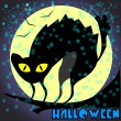 Black cat on Halloween night — Stockvectorbeeld