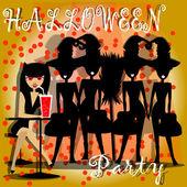 женщины, празднование хэллоуина ночь — Cтоковый вектор