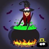 Vrouw vermomd als een heks op halloween nacht — Stockvector