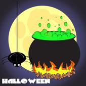 Spider on Halloween night — Stock Vector