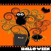 Gato en árbol en la noche de halloween — Vector de stock