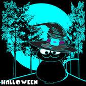 Halloween night cat — Stockvektor