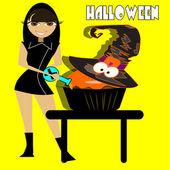 čarodějnice, vaření — Stock vektor