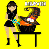 Witch cooking — Stock Vector