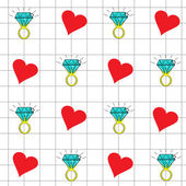 Pattern of hearts and engagement ring. — Stock Vector