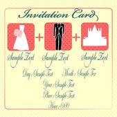 教会に結婚招待状カードをスーツします。 — ストックベクタ