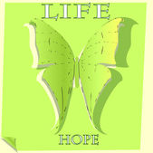 Green butterfly of hope — Stock Vector
