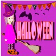 Girl dressed in Halloween night — Imagen vectorial