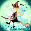 Witch flying on a broom — Stockvektor