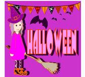 Girl dressed in Halloween night — Vetorial Stock
