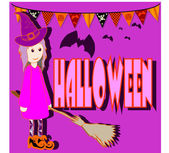 Girl dressed in Halloween night — Stockvektor