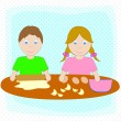 Special children couple preparing dough — Stock Vector