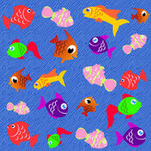 金鱼拼贴 — 图库矢量图片