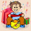 Happy face child opening their gifts — Stock Vector