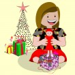 Little girl uncovering their Christmas gifts — Stock Vector