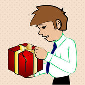 Young man holding a gift box — Stock Vector