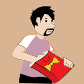 Young man uncovering your gift packed in a bag — Cтоковый вектор