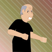 Elderly man furious — Stock Vector