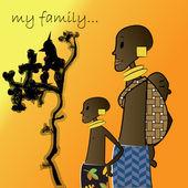 Afrikaanse familie, vader en kinderen samen — Stockvector