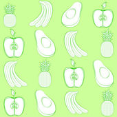 Green fruits — Vector de stock