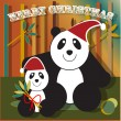 Happy Christmas Panda — Stock Vector