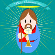 Jesus in the first communion — Stock Vector #38359723