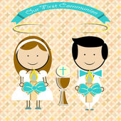 Pair of children, making first communion — Stock Vector
