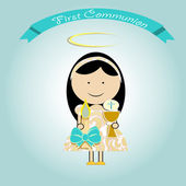 Girl making first communion — Stock Vector