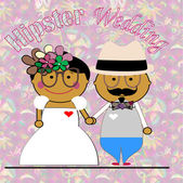 Wedding hipsters with his glasses, flowers, hat and mustache. — Stock Vector