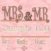 Pink card invitation marriage, with texts in colors brown and white roses background. — Stock Vector