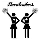 Two cheerleaders with stars on their uniforms and pom poms in white rimmed black — Stock Vector