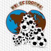 The world of football balls — Stock Vector
