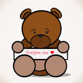 Sorry teddy bear party asking forgiveness heart. — Stock Vector