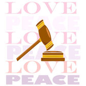 Hammer of justice, love and peace background words — Stock Vector