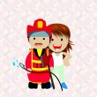 Stock Vector: Smiling womand firefighter