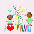 Happy children who love the planet earth — ストックベクタ