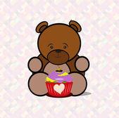 Teddy bear eating a delicious gelato — Stock Vector