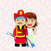 Smiling woman and firefighter — Stock Vector