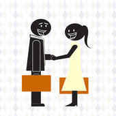Man and woman shaking hands — Stock Vector