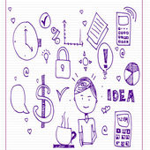 Doodles doodles of everyday business activities, and technology — ストックベクタ