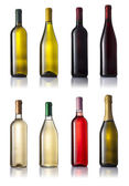 Set of eigh wine bottles no labels — Stock Photo
