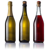 Set of three bottles of sparkling wine no labels — Stock Photo
