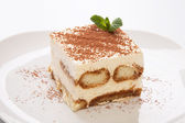 Tiramisu and mint — Stock Photo