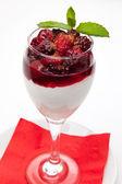 Creamy dessert with berries — Stock Photo