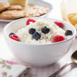 Breakfast of cottage cheese — Stock Photo